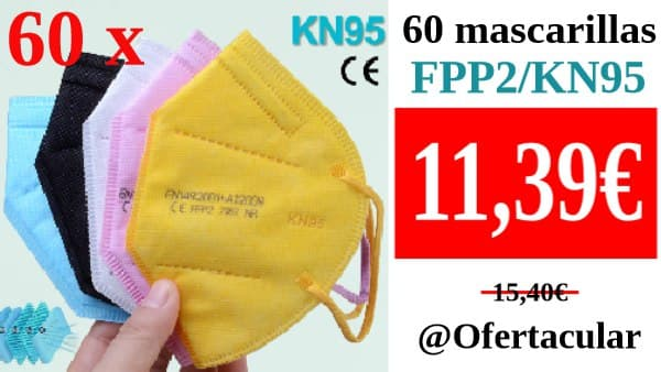 60 Mascarillas faciales FFP2/KN95 con filtro