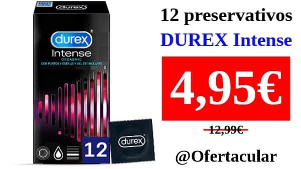 Caja de 12 preservativos Durex Intense con Puntos y Estrías y gel estimulante