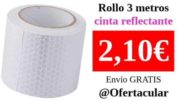 Cinta Reflectante Autoadhesivo Alta Intensidad Blanco de 3 metros