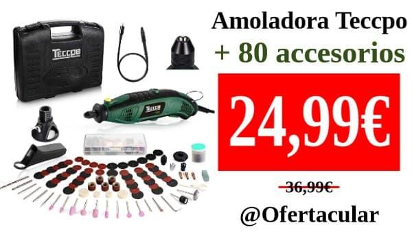 Mini Amoladora Eléctrica TECCPO + 80 accesorios