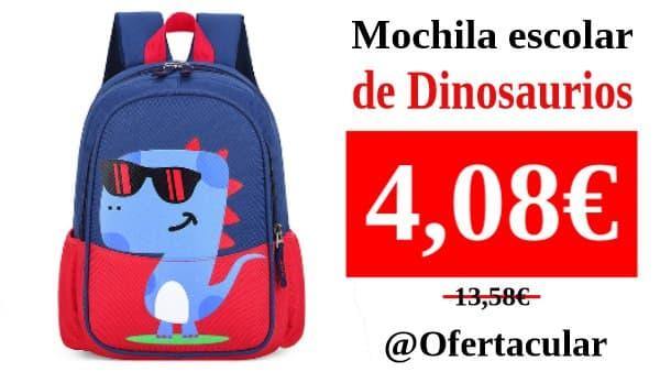 Mochila escolar de dinosaurio para niños y niñas