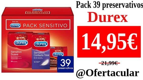 Pack 39 Preservativos Durex Sensitivo Suave + Sensitivo Contacto Total + Real Feel