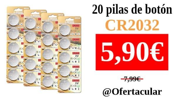 20 Pilas de botón CR2032