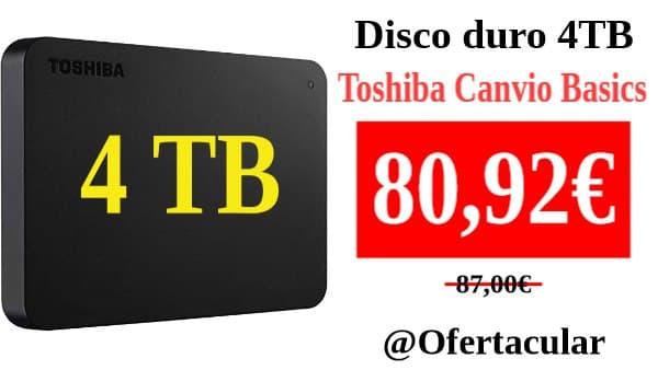Disco Duro Toshiba 4Tb canvio basic